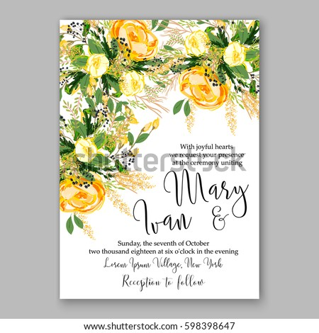 Wedding Invitation Card Template Yellow Rose Stock Vector Royalty