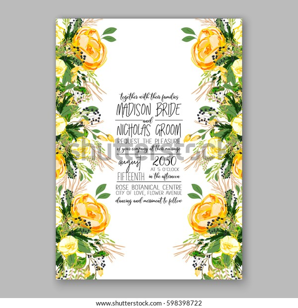 Wedding Invitation Card Template Yellow Rose Stock Vector Royalty Free 598398722,Wedding Dress Fitted Mermaid