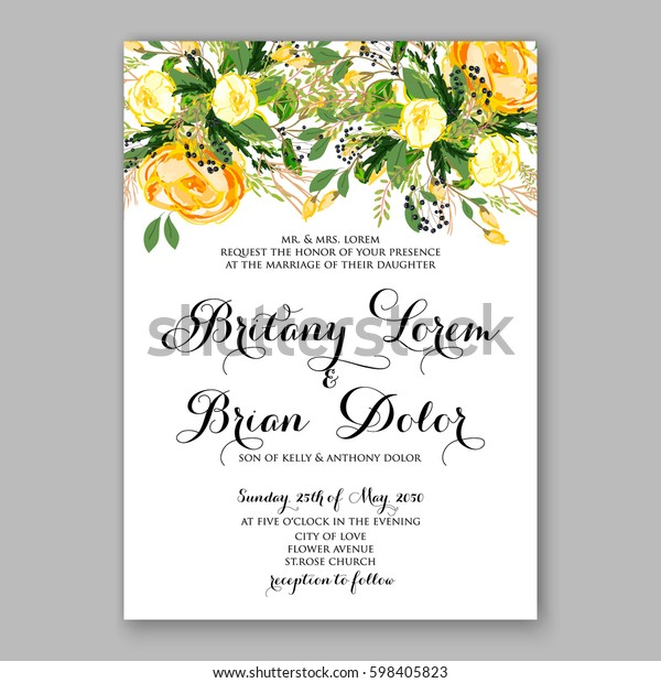 Wedding Invitation Card Template Yellow Rose Stock Vector Royalty Free 598405823,Wedding Dress Fitted Mermaid