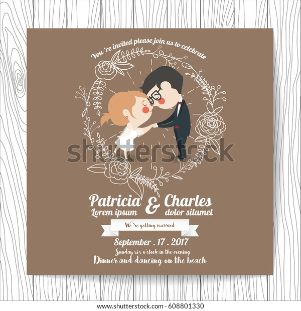 Wedding Invitation Card Templates Cartoon Character Stock