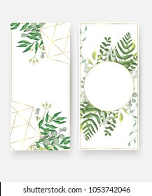Wedding invitation card templates, geometric design. Blue eucalyptus leaves, plants, branches, greenery and grass in golden frame. Boho vector in rustic elegant style. Beautiful spring wedding print