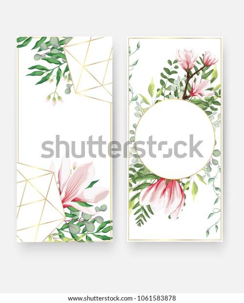 Wedding Invitation Card Templates Geometric Design Stock