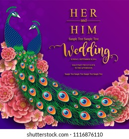 Wedding Invitation card templates with gold Peacock feathers patterned and crystals on paper color Background.