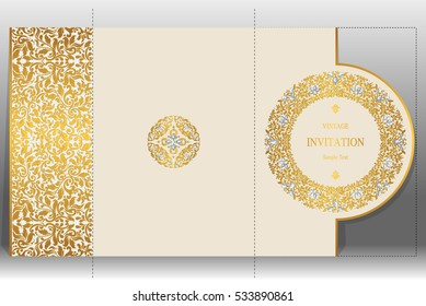 Wedding Invitation card templates with gold patterned and crystals on paper color Vertical.