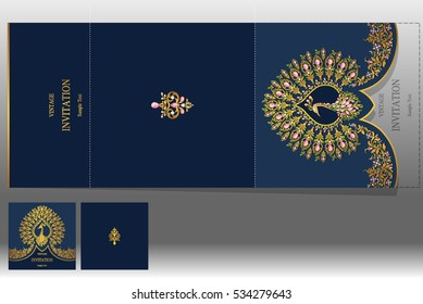 Wedding Invitation card templates with gold patterned and crystals on paper color Square size.