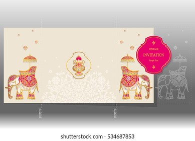 Wedding Invitation card templates with gold elephant patterned and crystals on paper color Square size.