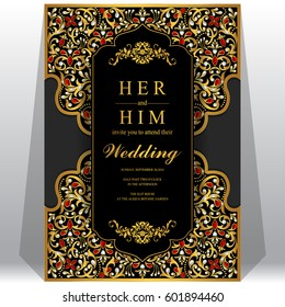 Wedding Invitation card templates with gold patterned and crystals on paper color.