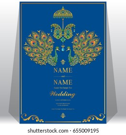 Wedding Invitation card templates with gold Peacock feathers patterned and crystals on paper color.