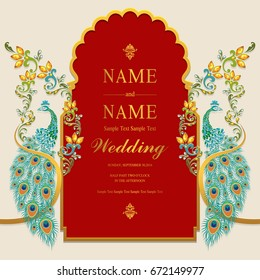 Wedding Invitation card templates with gold peacock patterned and crystals on paper color.