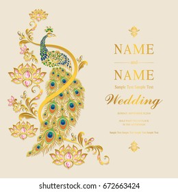 Wedding Invitation card templates with gold peacock and lotus patterned and crystals on paper color.