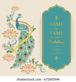 Wedding Invitation card templates with gold peacock with lotus patterned and crystals color on paper.