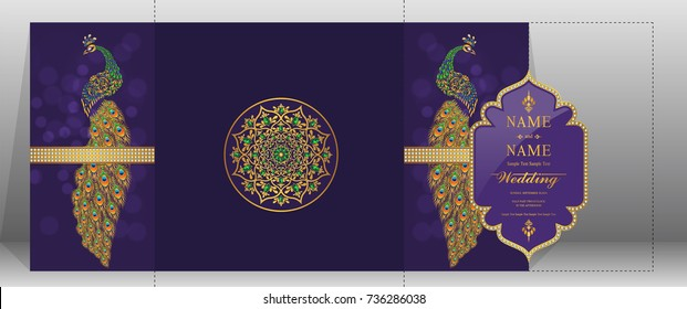 Wedding Invitation card templates with gold peacock patterned and crystals on background color.