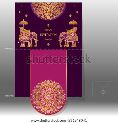 Wedding Invitation Card Templates Gold Elephant Stock Vector