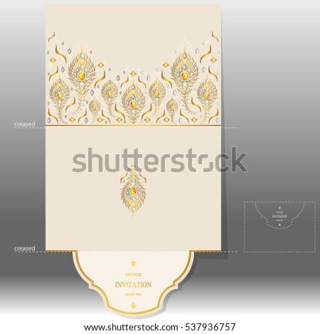 Wedding Invitation Card Templates Gold Peacock Vector De Stock