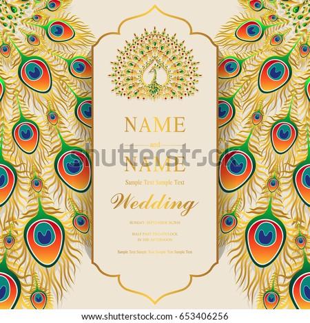 Invitation Card Template | Wedding Invitation Card Templates Gold Peacock Stock Vektorgrafik
