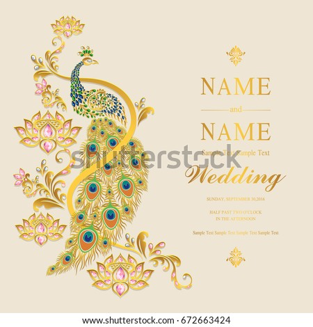 Wedding Invitation Card Templates Gold Peacock Stock Vector Royalty