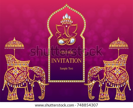 Wedding Invitation Card Templates Gold Patterned Image Vectorielle