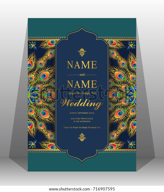 Wedding Invitation Card Templates Gold Patterned Stock Vector ...