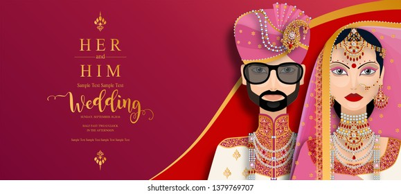 wedding Invitation card templates with Indian man and women in traditional clothes on paper color Background.