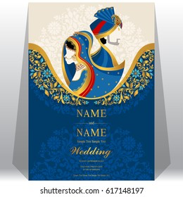 wedding Invitation card templates with Indian man and woman in traditional clothes on paper color.