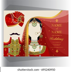 wedding Invitation card templates with Indian man and women traditional costumes wedding on paper color background.