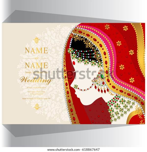 Wedding Invitation Card Templates Indian Woman Stock Vector