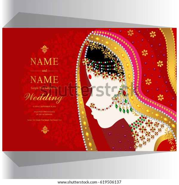 Wedding Invitation Card Templates Indian Woman Stock Image