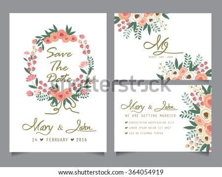 Wedding Invitation Card Templates Love Valentine Stock Vector