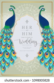 Wedding Invitation card templates with Peacock feathers patterned and crystals on paper color Background.