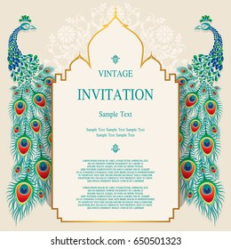 Wedding Invitation card templates with peacock patterned and crystals on paper color
