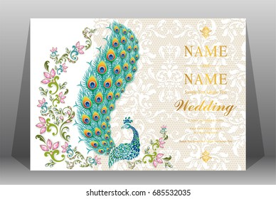 Wedding Invitation card templates with Peacock feathers patterned and crystals on paper color.