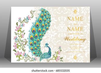 Wedding Invitation Card Templates Gold Peacock Stock Vector Royalty