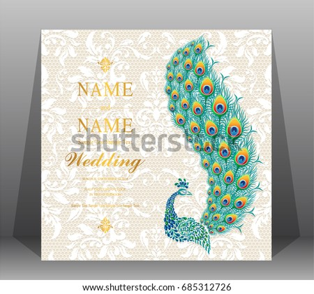 Wedding Invitation Card Templates Peacock Patterned Image