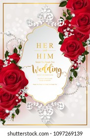 Wedding Invitation card templates with realistic of beautiful red rose and flower on background color.