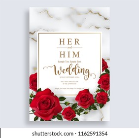 Wedding Invitation card templates with realistic of beautiful red rose and flower on white marble background .