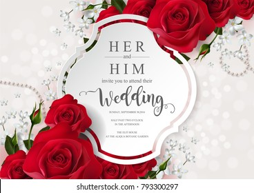 wedding Invitation card templates with realistic of beautiful flower on background color. Vector Eps.10