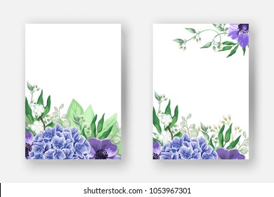 Wedding invitation card templates, save the date design. Romantic watercolor blue Hydrangea flowers with anemones, eucalyptus leaves, branch, greenery and grass.  Boho vector in rustic elegant style.