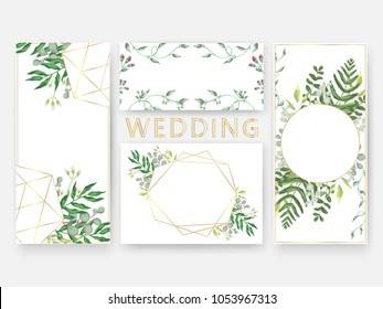 Wedding invitation card templates, save the date design. Romantic watercolor eucalyptus leaves,berries branch, greenery and grass in golden frame.  Boho vector in rustic elegant style.
