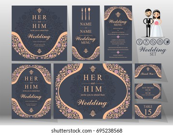 Wedding Invitation card templates set with pastel color patterned and crystals on paper background.