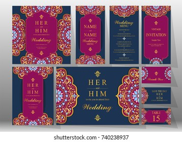 Wedding Invitation card templates set with gold patterned and crystals on background color.