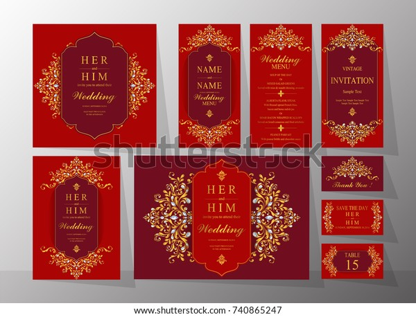 Wedding Invitation Card Templates Set Gold | Royalty-Free Stock Image
