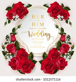 Wedding Invitation card templates or Valentine's day greeting with realistic of beautiful red rose with gold patterned and crystals on paper color.