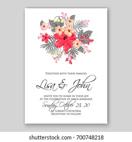 Wedding invitation or card with tropical floral background. Greeting postcard in grunge retro vector Elegance pattern with flower rose illustration vintage chrysanthemum Valentine day card Luau Aloha