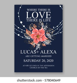 Wedding invitation card with tropical poinsettia peony floral background. Greeting postcard vector Elegance pattern with flower rose illustration chrysanthemum Valentine day card Luau Aloha