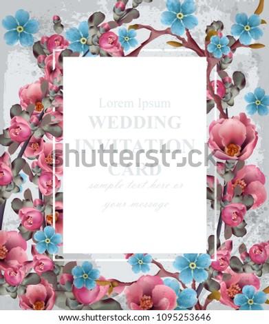 wedding invitation card vector blue pink stock vector royalty free