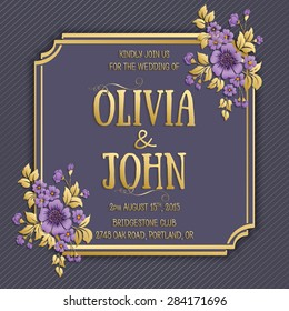 Wedding invitation card. Vector invitation card with elegant frame with text decorated with 3d flowers.
