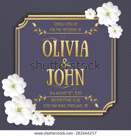 Wedding invitation card. Vector invitation card with elegant frame with text decorated with 3d flowers