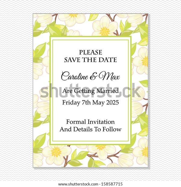 Wedding Invitation Card Vector File Contains Stock Vector