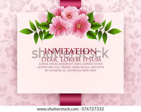 Wedding invitation card vector invitation card stock vector royalty wedding invitation card vector invitation card with floral background and elegant frame with text decorated stopboris Gallery
