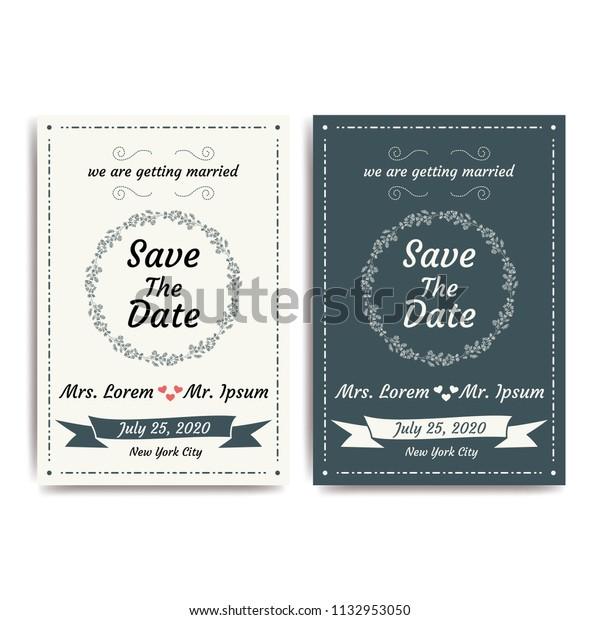 Wedding Invitation Card Vector Illustration Eps Stock Image